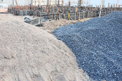 Piles gravel and sand. For construction Royalty Free Stock Photo