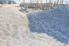 Piles gravel and sand Royalty Free Stock Image