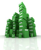 Piles of green packages Royalty Free Stock Photo