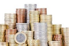 Piles groupées d'EURO pièces de monnaie Images stock