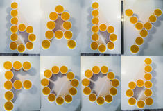 Piles of home made baby food forming letters of baby food Stock Photo