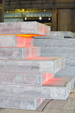 Piles of hot steel sheet Royalty Free Stock Images