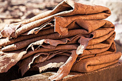 Piles of leather medina Marrakech Stock Images