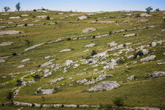 Piles of limestones in the landscape Stock Photo