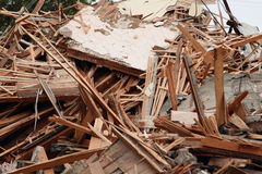 Piles Of Lumber And Other Demolition Debris Royalty Free Stock Image