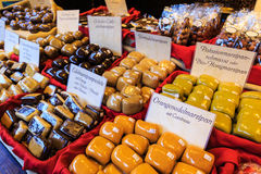 Piles of marzipan at a market stall Royalty Free Stock Images