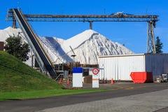 Piles massives de sel à une raffinerie de sel images libres de droits