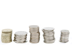 Piles of money. Piles of British coins in a row Royalty Free Stock Image