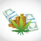 Piles of money currency and marijuana leaf. Stock Photos