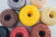 Piles of multicolored balls yarn Stock Image