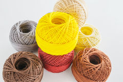 Piles of multicolored balls yarn background Royalty Free Stock Image