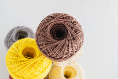 Piles of multicolored balls yarn background Royalty Free Stock Photography