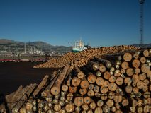 Free Piles Of Industrial Lumber And Boats By The Harbour, Lyttleton, New Zealand Stock Photo - 153782590