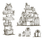 Piles Of Presents. Doodle Heaps Of Gift Boxes. Royalty Free Stock Photos
