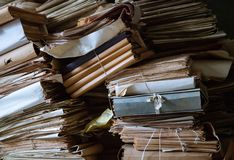Piles of old documents. Background royalty free stock images