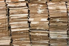 Piles of old papers. Huges piles of old papers. Some of the papers are attached with string stock image