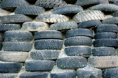 Piles of old tires. As retaining walls landslide Royalty Free Stock Photos