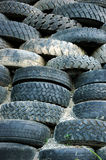 Piles of old tires. As retaining walls landslide Stock Images