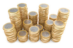 Piles of one Euro coins Royalty Free Stock Image