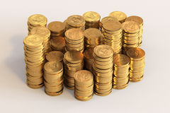 Piles of one US Dollar coins. High quality 3d image of piles of one US Dollar coins Royalty Free Stock Images