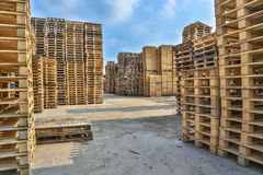 Piles of pallet on business area Royalty Free Stock Images
