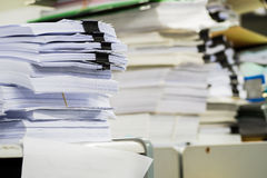 Piles of paper in the office Stock Photography