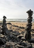Piles of pebble stones at the beach. Near the atlantic ocean Stock Photography