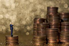 Piles of pennies. Business figure with money royalty free stock image