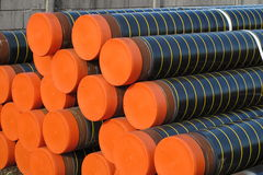 Piles of plastic pipes and conduits for transporting gas Royalty Free Stock Images