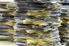 Piles of Plenty Mailing Sheets at the Office Royalty Free Stock Images