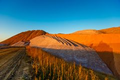 Piles of potash waste. Mars surface landscape royalty free stock photos