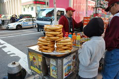 Piles of Pretzels for sale, New York City Stock Photo