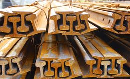The piles of rail. On a close view royalty free stock image
