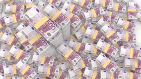 Piles random 500 euro bills with three very huge piles vector illustration