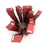 Piles of red packages Stock Photos