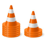 Piles of road cones. Piles of of traffic cone. Safety sign used to prevent accidents during road construction Stock Images