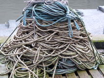 Piles of Rope. A neatly stacked pile of rope in a harbour Stock Photography