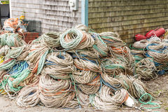 Piles of rope stacked at home stock photos