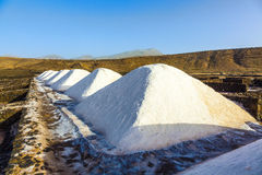 Piles of salt in the Salinas de Janubio, Lanzarote Royalty Free Stock Photos