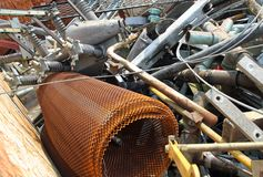Piles of scrap iron with broken and rusted objects Royalty Free Stock Photography