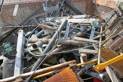 Piles of scrap iron with broken and rusted objects Royalty Free Stock Photo