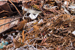 Piles of scrap metal bundled in bales Royalty Free Stock Photos