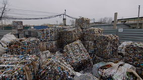 Piles Of Scrap Metal Bundled in Bales at Warehouse stock video footage