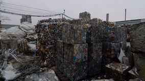 Piles of Scrap Steel Prepared For Smelting stock video