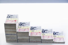 Piles of sealed pound banknotes Royalty Free Stock Images