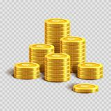 Piles of shiny gold coins with dollar sign. Piles of shiny gold coins with engraved dollar sign  cartoon vector illustration on transparent background. Metal Royalty Free Stock Images