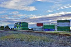 Piles of shipping containers in the Port of Anchorage in Alaska Stock Photo