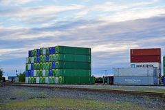 Piles of shipping containers in the Port of Anchorage in Alaska Stock Images