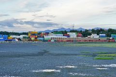 Piles of shipping containers in the Port of Anchorage in Alaska Stock Image