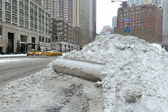 Piles of snow on the street, New York City Royalty Free Stock Photography